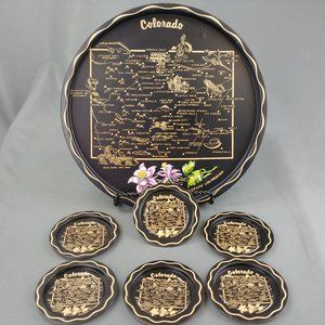 Vtg Tray and Coaster Set Colorado Souvenir 420
